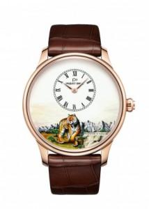 43MM Jaquet Droz Les Ateliers D'art Petite Heure Minute Tiger Replica Watches