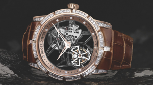 Mysterious Pink Gold Cases Roger Dubuis Excalibur 42 Jewellery Skeleton Flying Tourbillon Copy Watches
