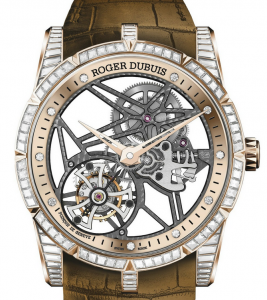 Mysterious Pink Gold Cases Roger Dubuis Excalibur 42 Jewellery Skeleton Flying Tourbillon Fake Watches