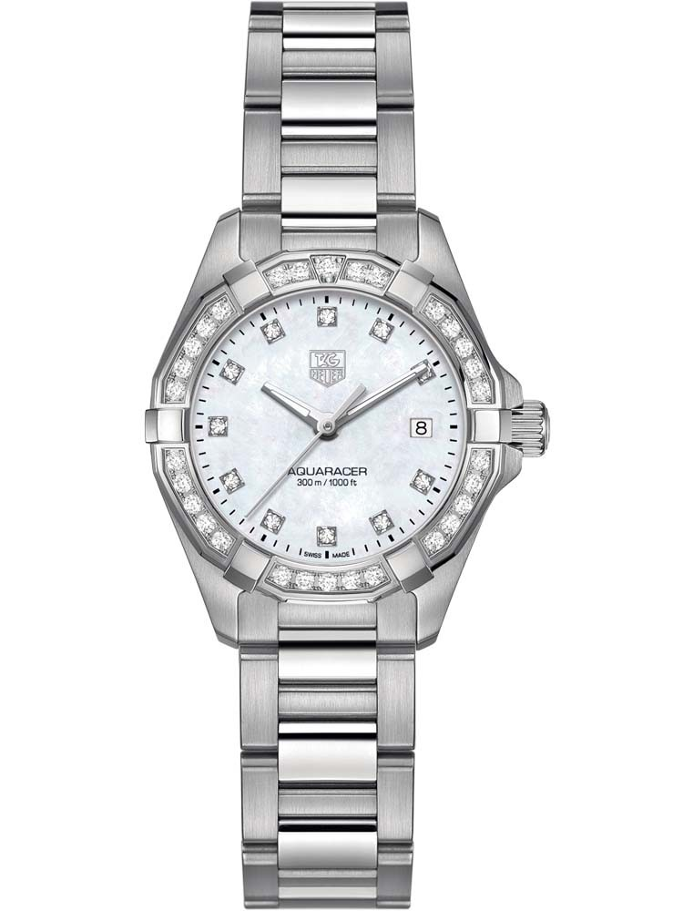 The delicate and fine white dials have diamond hour markers and luminescent hands.