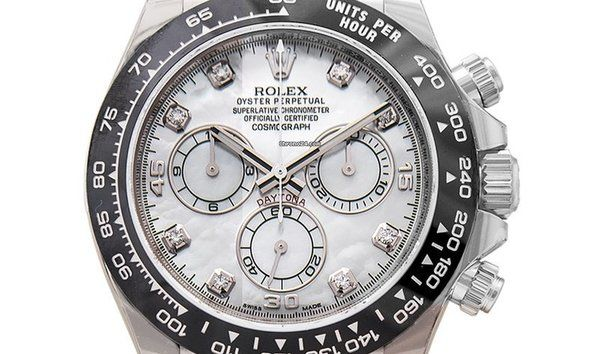 a8144634b63 The outstanding Rolex Cosmograph Daytona imitation watches have 40mm white  gold cases with black bezels and black Oysterflex straps.