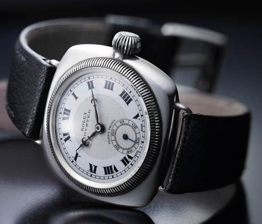 The Rolex Oyster watch with black leather strap has been worn to cross the strait.