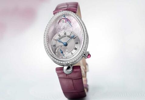With the shiny diamonds and mother-of-pearl dial, the Breguet looks very noble.