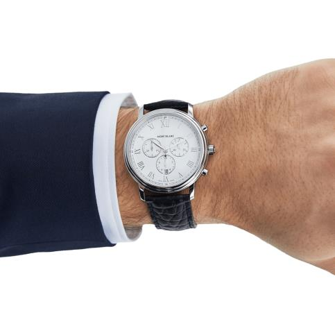 The stainless steel copy watches have white dials.
