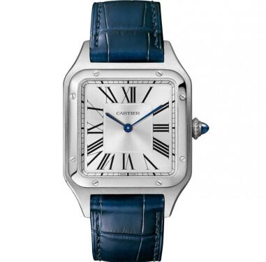 The roman numerals hour markers are the iconic feature of Cartier.
