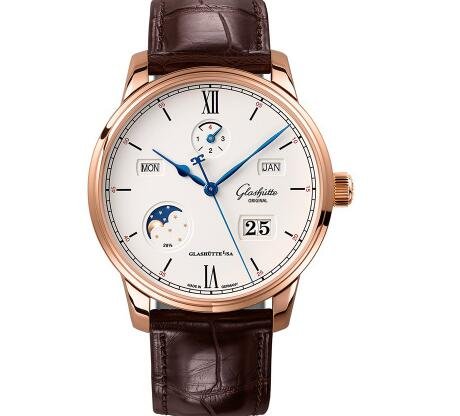The blue hands are striking on the white dial.