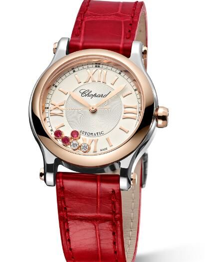 The rubies on the dial match the red leather strap perfectly.