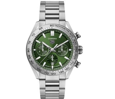 The TAG Heuer with green dial looks eye-catching and special.