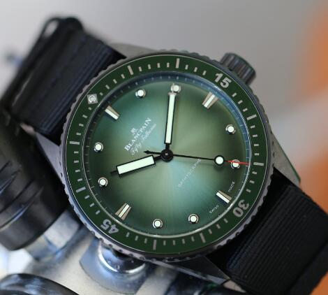 Blancpain with green gradient dial looks very charming.